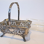 19th century 800 silver basket with original glass liner. Marked.