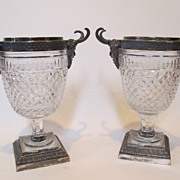 Antique Pairpoint pair Urns or vases. Cut glass & silver plate. Marked.