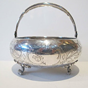 Russian 84 silver basket. Hand made in early 19th century. Engraved decoration.