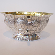18th century Danish silver bowl made by Christopher Fabritius in 1784.