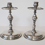 18th Century Spanish colonial silver candlesticks. Hand made, hand wrought. Marked.