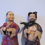 !9th Century amazing quality Chinese hand painted pair dolls. Beautiful.