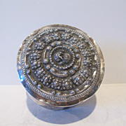 Burmese Antique hand made silver box. Hand chased. Beautiful.