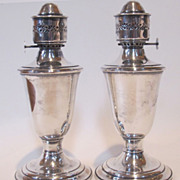 Vintage made by GORHAM pair of silver plate oil lamps! 9 inches tall.