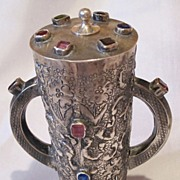 Antique silver two handles covered cup with stones decoration.