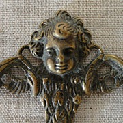 Vintage Turn of the Century Brass Hook Cherub
