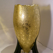 New Martinsville Black Rocket Vase w/Gold Overlay - Elegant Glass find!