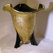 New Martinsville Gold-Overlay Black Elegant Glass Rocket Vase Flared Rim RARE!