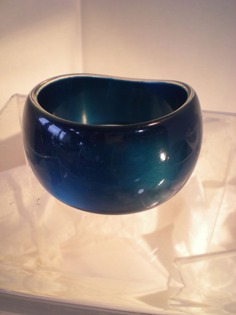 Sculptural Blue Lustrous Plastic Bangle Wow!