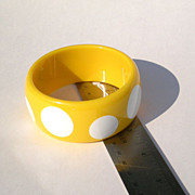Fun Yellow Polka Dot Plastic Bangle