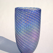 Art Glass Vase Blue Iridescent