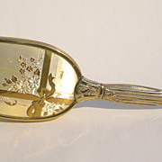 Vintage Hairbrush Goldtone w/Flowers & Ribbon Design