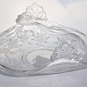 Heisey Elegant Glass Bonbon Dish with Rose Etching