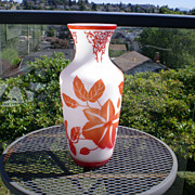 Peking Glass Cameo Vase - Orange & White Floral Design Striking!