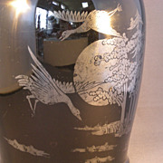 Black Glass Vase with Silver Overlay Geese & Landscape Design