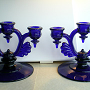 REDUCED New Martinsville Glass Elegant Blue Candleholders