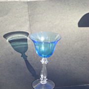 REDUCED Cambridge Pretty Bright Blue Elegant Depression Glass &quot;Stradivari&quot; stem