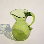 Sweet Vintage Green Glass Crackle Pitcher w/Heart-shaped Spout