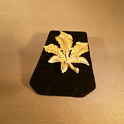 REDUCED Vintage BSK Leaf Pin w/Rhinestones and Nice detail