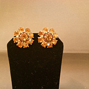 REDUCED Topaz Rhinestone Vintage Clip-on Earrings