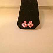 REDUCED Pink Sparkly Vintage Rhinestone Clip-on Earrings