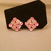 REDUCED Beautiful Weiss Pink Rhinestone Clip-on Earrings