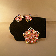 REDUCED Pink Watermelon Rhinestone Brooch & Clip-on Earrings