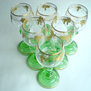 Green & Gold Moser/Bohemian Set of 6 Goblets
