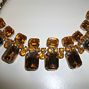 Extra large faux Topaz rhinestone run way Necklace 1950-60's