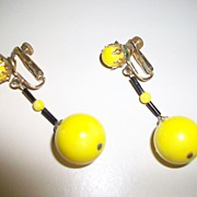 Pair of vintage  Vendom clamp earrings, Large yellow beads