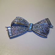 Vintage before 50's ribbon brooch pave rhinestones
