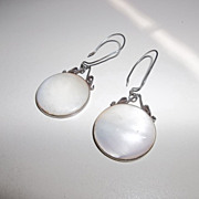 Vintage mother of pearl sterling silver earrings, unique signature