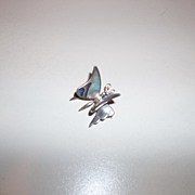 Fabulous sterling silver, abalone, listed artist butterfly brooch NOD