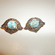 Vintage Sarah Cov robins egg clamp earrings