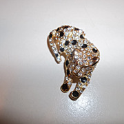 Spotted Leopard with black enamel and rhinestones.  80's
