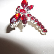 Red Rhinestone dragonfly brooch