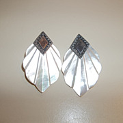 Stunning silver, abalone deco style earrings