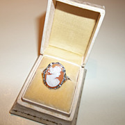 Stunning 1920's hand carved cameo 14K white gold, yellow, and rose gold. Ring