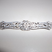 Art Deco long rhinestone bar pin,