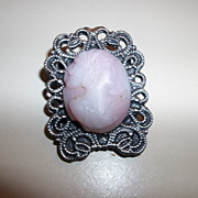 Vintage Pink molded Glass Cameo,  Unique Settings