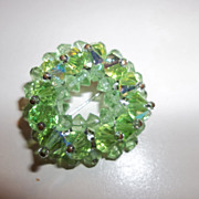 Vintage round green crystal wreath brooch