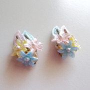 Early Plastic flower earrings,  made W. Germany,  50's for sure