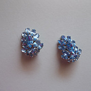 Vintage Ocean blue glass rhinestones clamp earrings