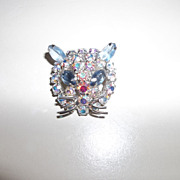 AB Rhinestone kitty cat head,
