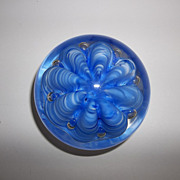 Vintage beautiful blue Scalloped wavy design paper weight by Joe St. Clair