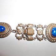 Art Deco art glass Cab Bracelet made in France
