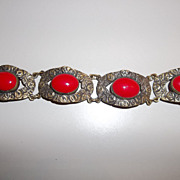 SOLD Vintage Italian large Red glass Cab bracelet
