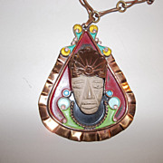 Vintage Aztec copper, clay, enamel large necklace 50's