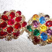 Pair Of glass red rhinestone brooch and Multi colored Brooch