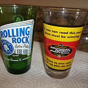 Two collectable beer glasses..  Rolling Rock,  ABC NFL Football,